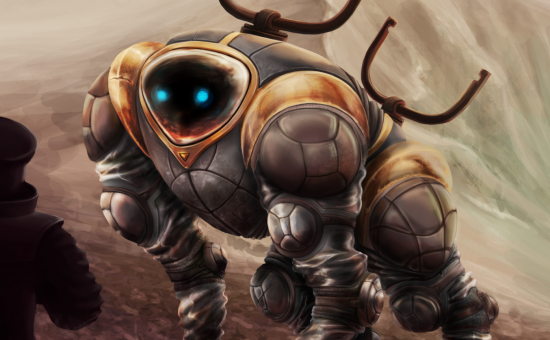 Digital Painting of a worker robot. Photoshop CS6